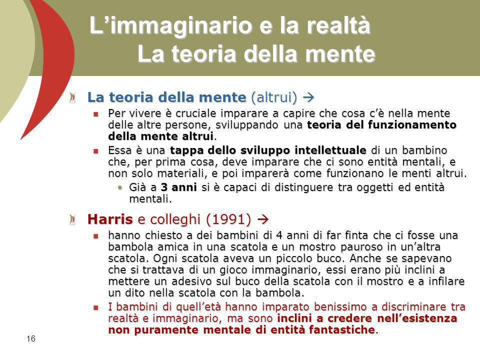 16 Limmaginario e la realtà La teoria della mente La teoria della mente (altrui) La teoria della mente (altrui) Per vivere è cruciale imparare a capir