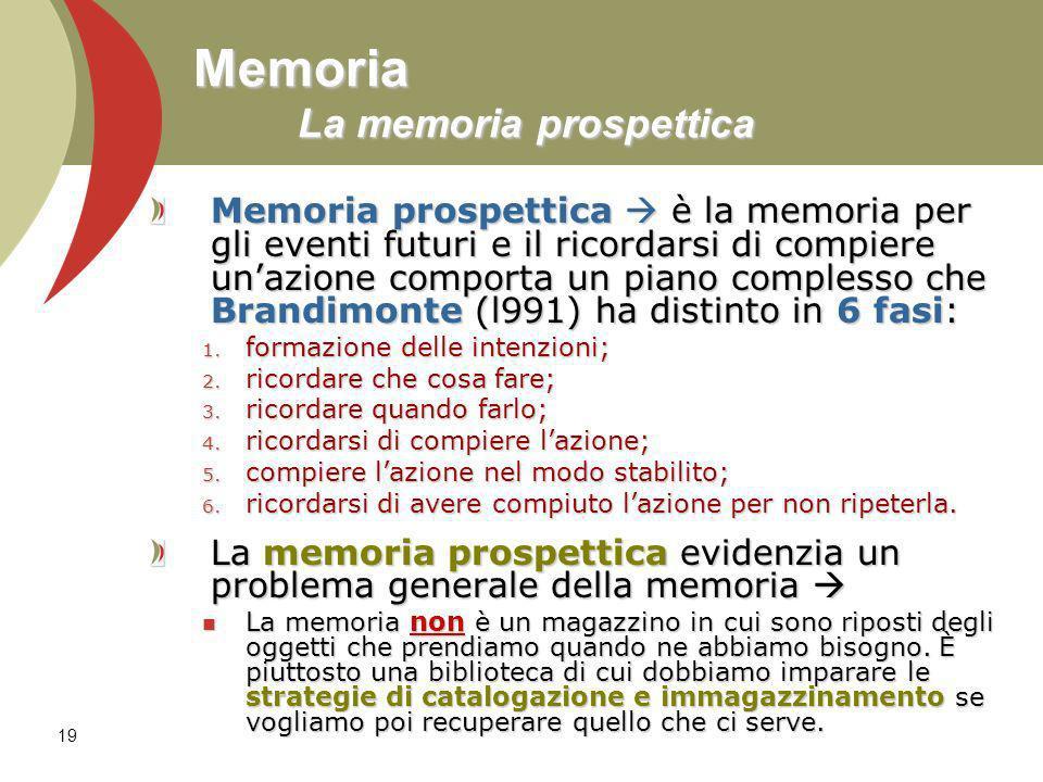 19 Memoria La memoria prospettica Memoria prospettica è la memoria per gli eventi futuri e il ricordarsi di compiere unazione comporta un piano comple