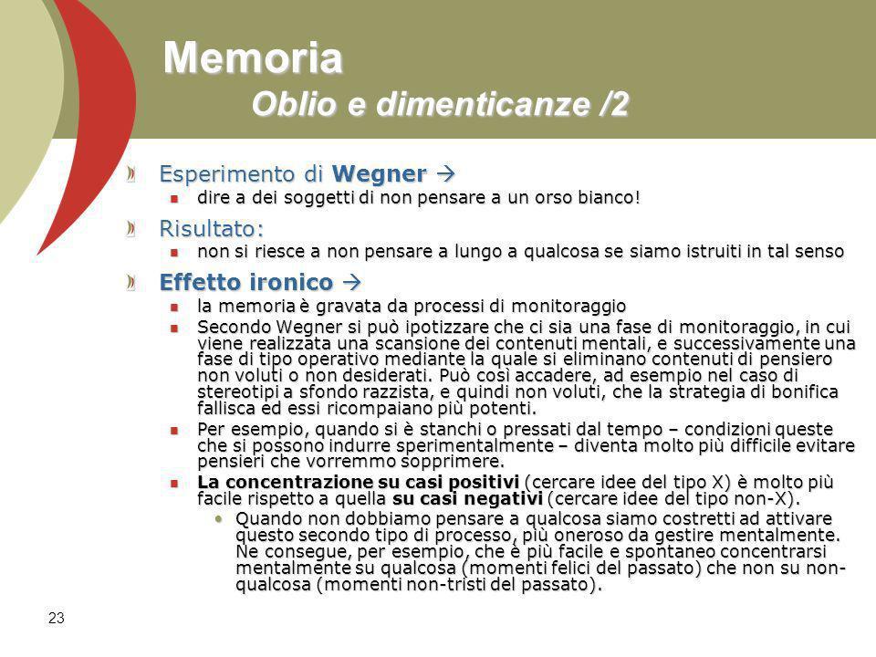 23 Memoria Oblio e dimenticanze /2 Esperimento di Wegner Esperimento di Wegner dire a dei soggetti di non pensare a un orso bianco! dire a dei soggett