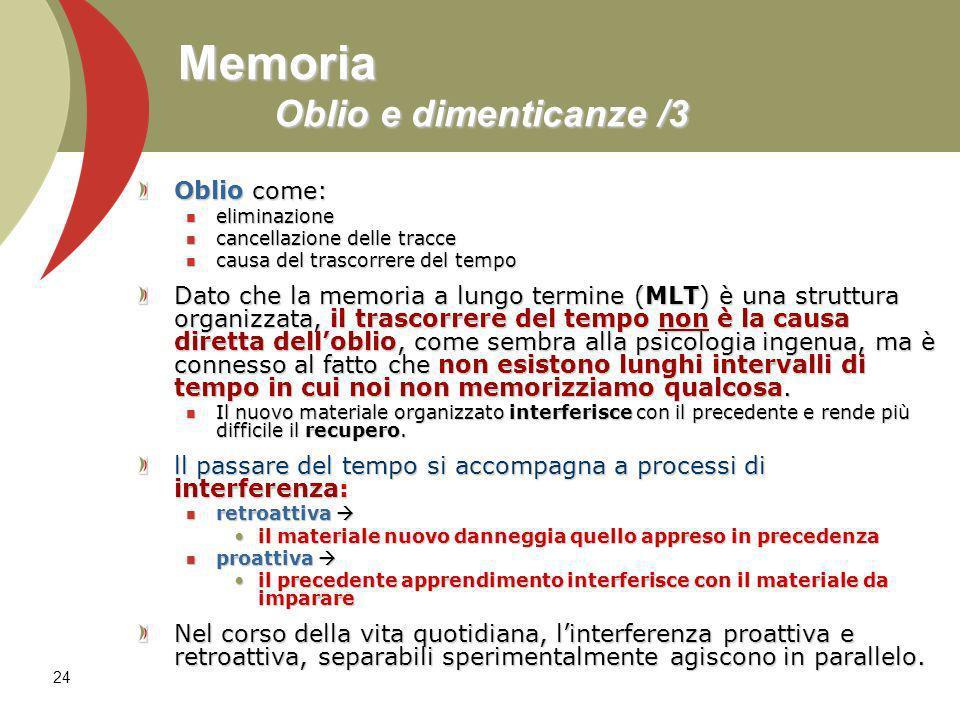 24 Memoria Oblio e dimenticanze /3 Oblio come: eliminazione eliminazione cancellazione delle tracce cancellazione delle tracce causa del trascorrere d