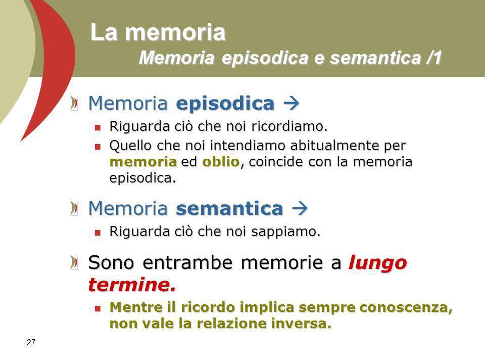 27 La memoria Memoria episodica e semantica /1 Memoria episodica Memoria episodica Riguarda ciò che noi ricordiamo. Riguarda ciò che noi ricordiamo. Q