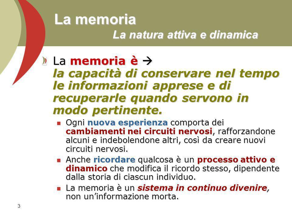 3 La memoria La natura attiva e dinamica La memoria è la capacità di conservare nel tempo le informazioni apprese e di recuperarle quando servono in m