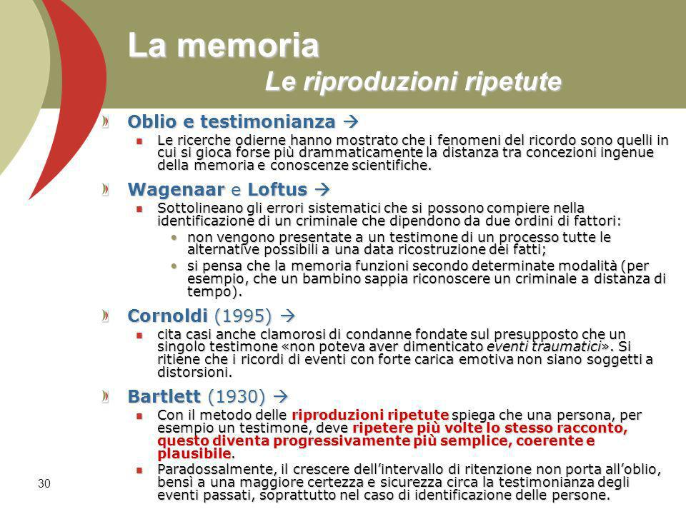 30 La memoria Le riproduzioni ripetute Oblio e testimonianza Oblio e testimonianza Le ricerche odierne hanno mostrato che i fenomeni del ricordo sono