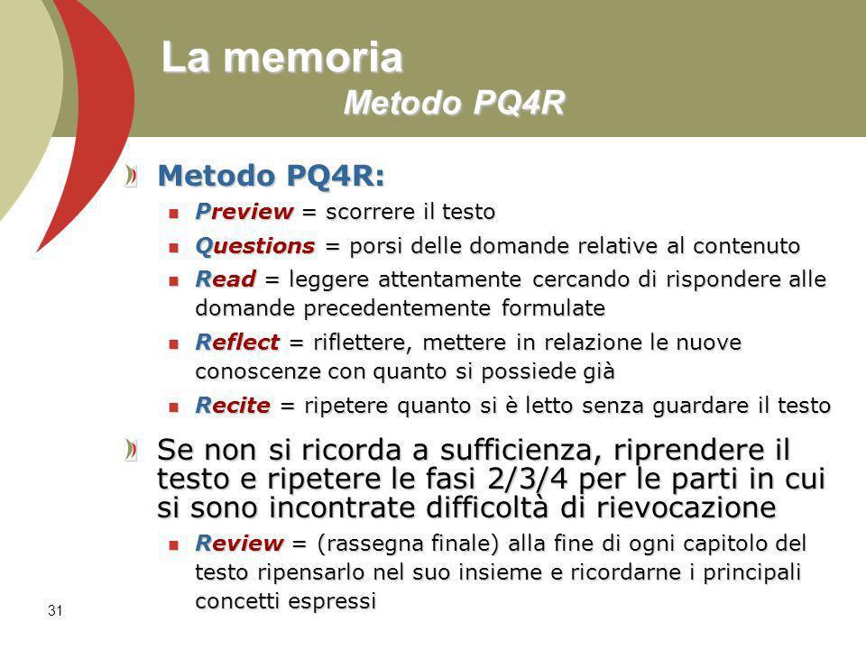 31 La memoria Metodo PQ4R Metodo PQ4R: Preview = scorrere il testo Preview = scorrere il testo Questions = porsi delle domande relative al contenuto Q