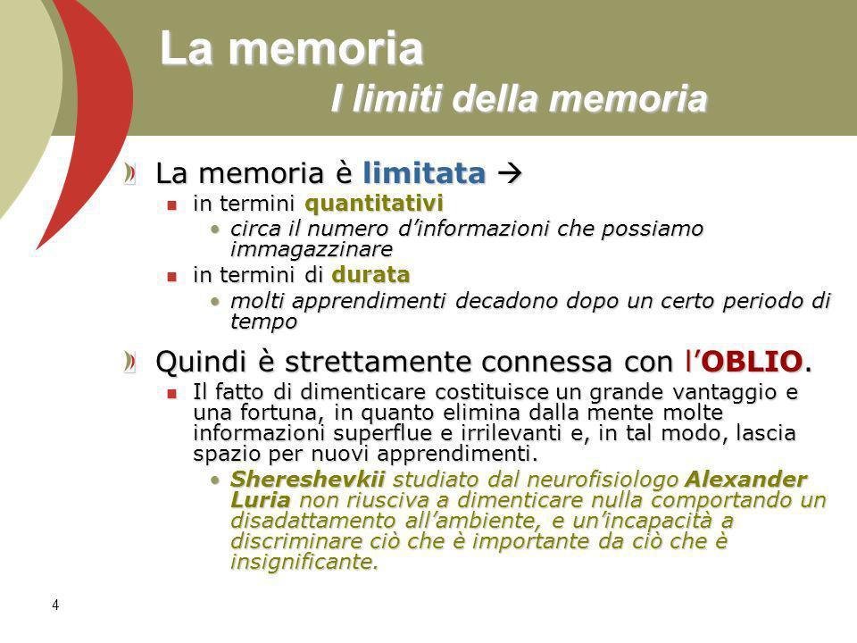 4 La memoria I limiti della memoria La memoria è limitata La memoria è limitata in termini quantitativi in termini quantitativi circa il numero dinfor
