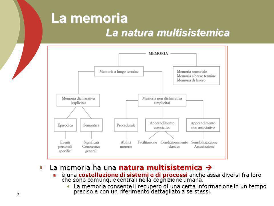 5 La memoria La natura multisistemica La memoria ha una natura multisistemica La memoria ha una natura multisistemica è una costellazione di sistemi e