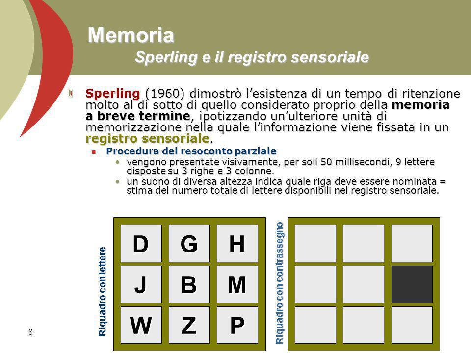 8 Memoria Sperling e il registro sensoriale Sperling (1960) dimostrò lesistenza di un tempo di ritenzione molto al di sotto di quello considerato prop