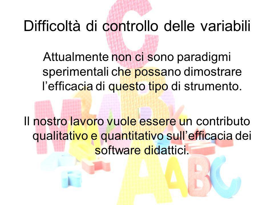 Difficoltà di controllo delle variabili Attualmente non ci sono paradigmi sperimentali che possano dimostrare lefficacia di questo tipo di strumento.