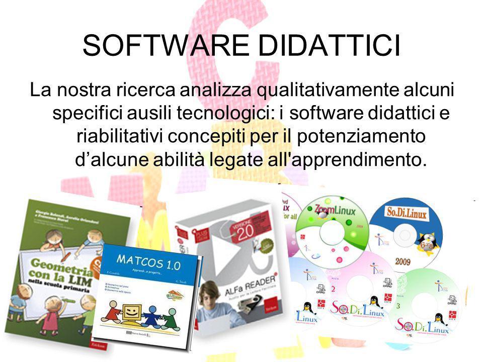 SOFTWARE DIDATTICI La nostra ricerca analizza qualitativamente alcuni specifici ausili tecnologici: i software didattici e riabilitativi concepiti per