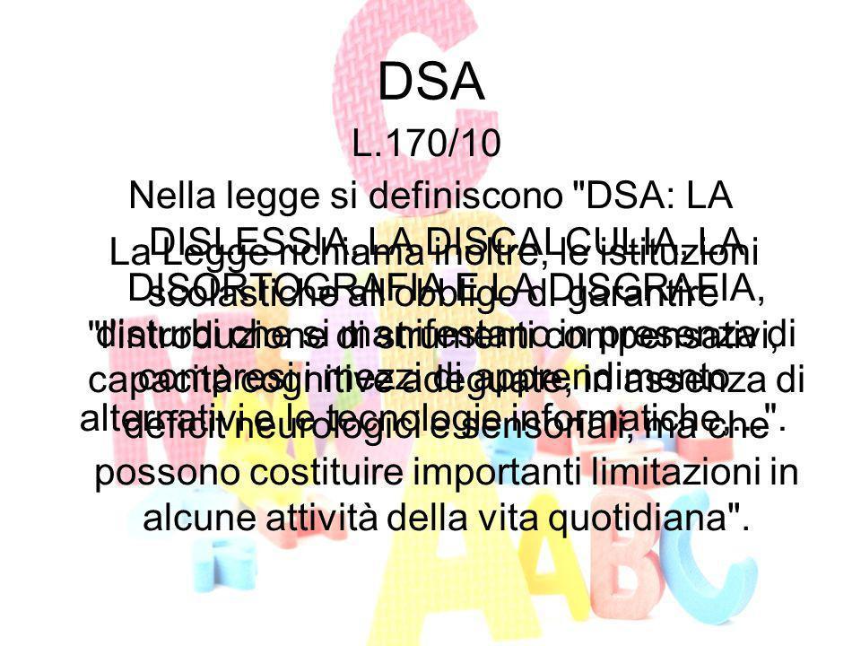 DSA Nella legge si definiscono