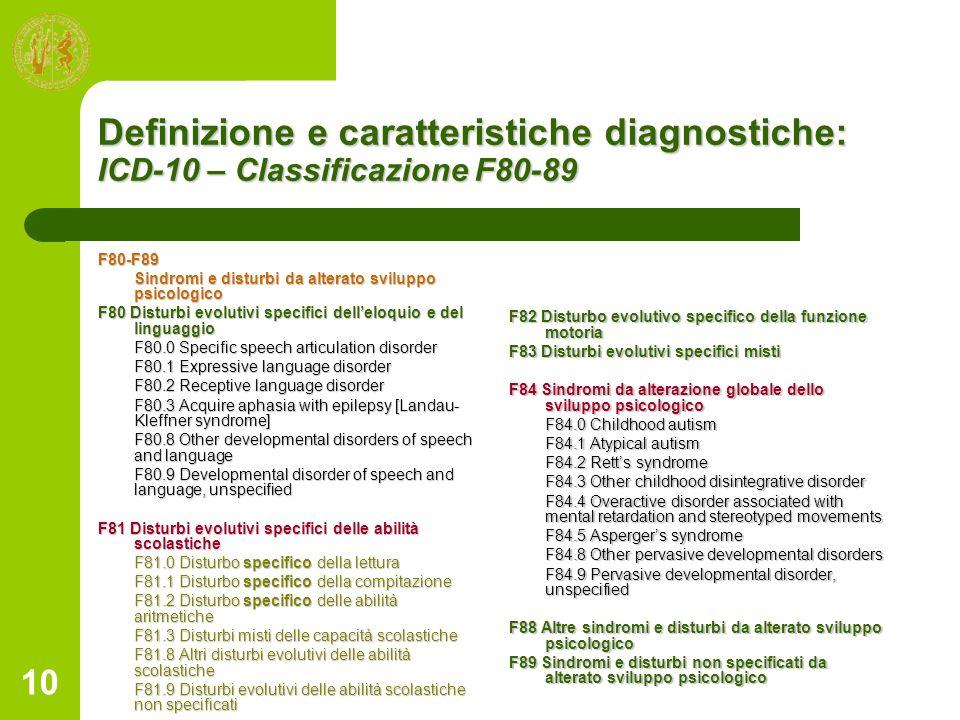 10 Definizione e caratteristiche diagnostiche: ICD-10 – Classificazione F80-89 F80-F89 Sindromi e disturbi da alterato sviluppo psicologico F80 Distur