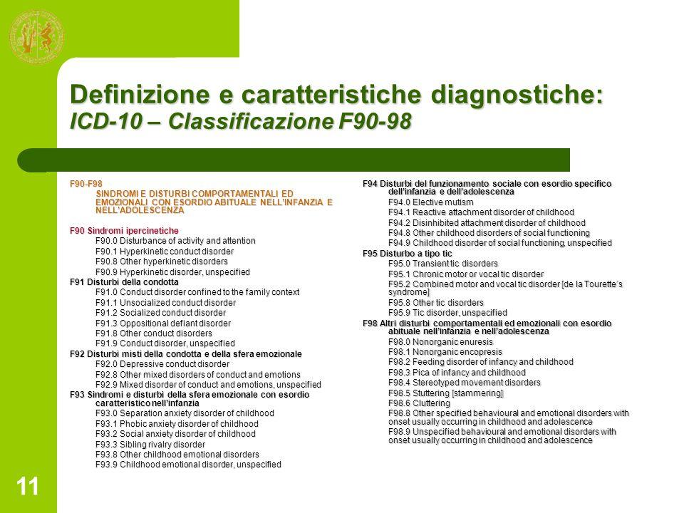 11 Definizione e caratteristiche diagnostiche: ICD-10 – Classificazione F90-98 F90-F98 SINDROMI E DISTURBI COMPORTAMENTALI ED EMOZIONALI CON ESORDIO A