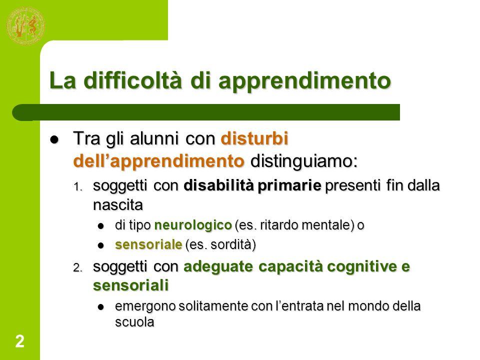 2 La difficoltà di apprendimento Tra gli alunni con disturbi dellapprendimento distinguiamo: Tra gli alunni con disturbi dellapprendimento distinguiam