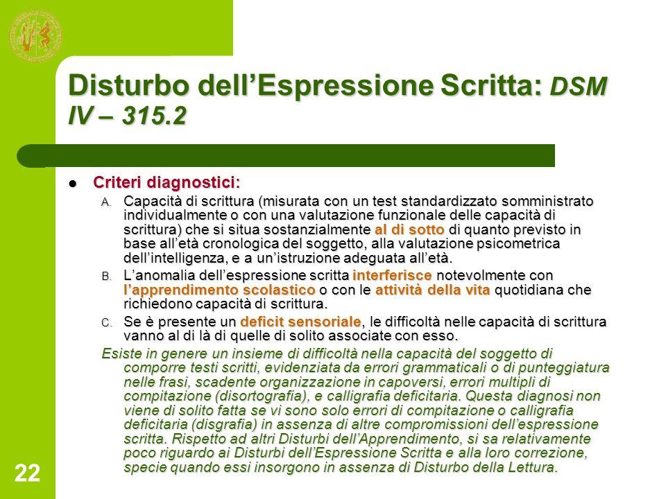 22 Disturbo dellEspressione Scritta: DSM IV – 315.2 Criteri diagnostici: Criteri diagnostici: A. Capacità di scrittura (misurata con un test standardi