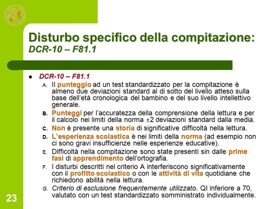 23 Disturbo specifico della compitazione: DCR-10 – F81.1 DCR-10 – F81.1 DCR-10 – F81.1 A. Il punteggio ad un test standardizzato per la compitazione è