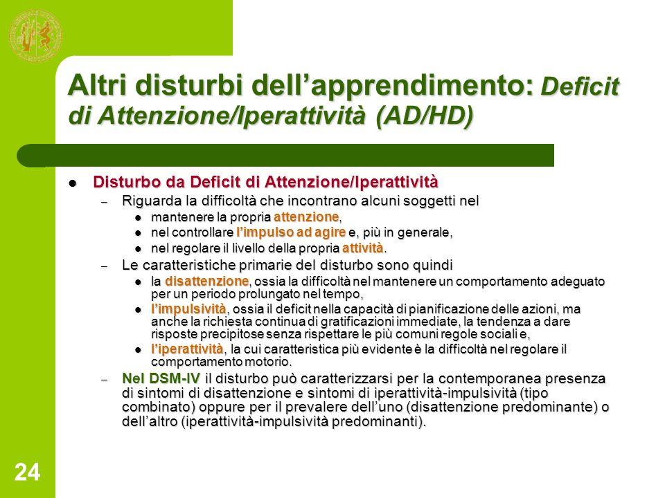 24 Altri disturbi dellapprendimento: Deficit di Attenzione/Iperattività (AD/HD) Disturbo da Deficit di Attenzione/Iperattività Disturbo da Deficit di