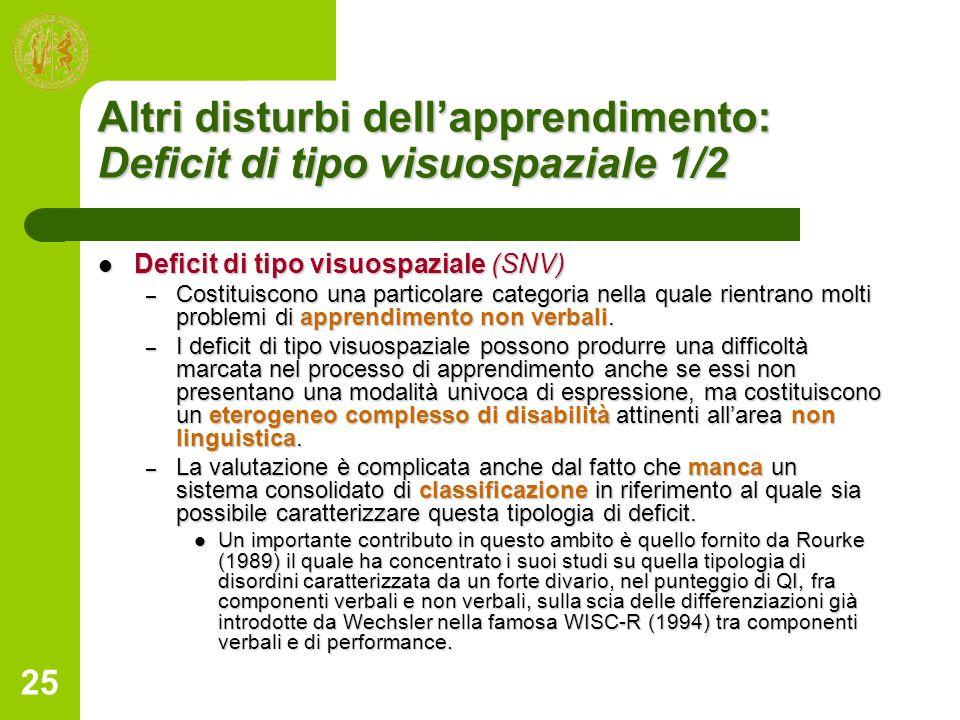 25 Altri disturbi dellapprendimento: Deficit di tipo visuospaziale 1/2 Deficit di tipo visuospaziale (SNV) Deficit di tipo visuospaziale (SNV) – Costi