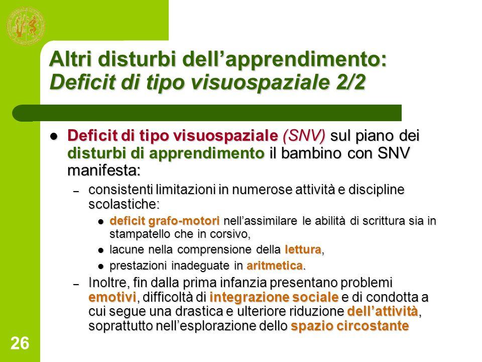 26 Altri disturbi dellapprendimento: Deficit di tipo visuospaziale 2/2 Deficit di tipo visuospaziale (SNV) sul piano dei disturbi di apprendimento il