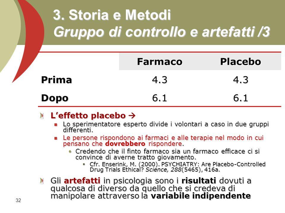 32 3. Storia e Metodi Gruppo di controllo e artefatti /3 Leffetto placebo Leffetto placebo Lo sperimentatore esperto divide i volontari a caso in due
