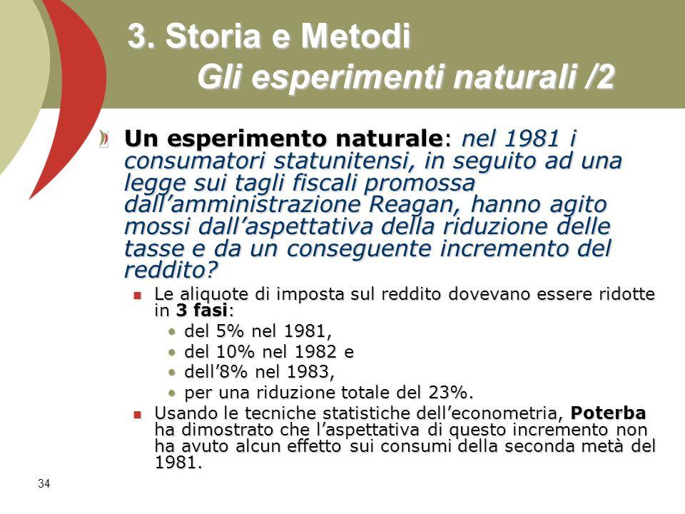 34 3. Storia e Metodi Gli esperimenti naturali /2 Un esperimento naturale: nel 1981 i consumatori statunitensi, in seguito ad una legge sui tagli fisc