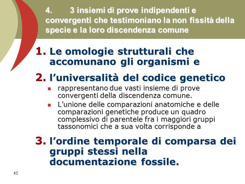 45 4. 3 insiemi di prove indipendenti e convergenti che testimoniano la non fissità della specie e la loro discendenza comune 1. Le omologie struttura