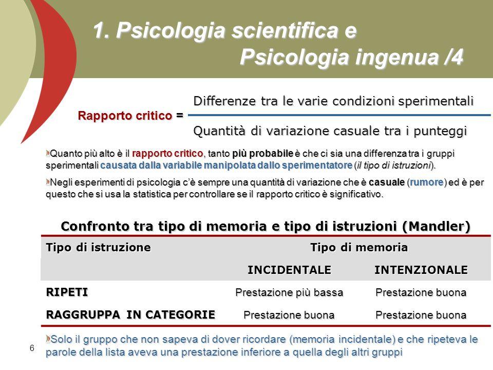 6 1. Psicologia scientifica e Psicologia ingenua /4 Rapporto critico = Differenze tra le varie condizioni sperimentali Quantità di variazione casuale