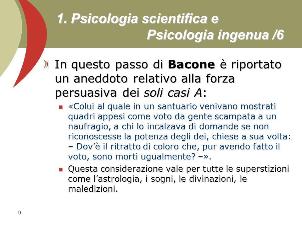 9 1. Psicologia scientifica e Psicologia ingenua /6 In questo passo di Bacone è riportato un aneddoto relativo alla forza persuasiva dei soli casi A: