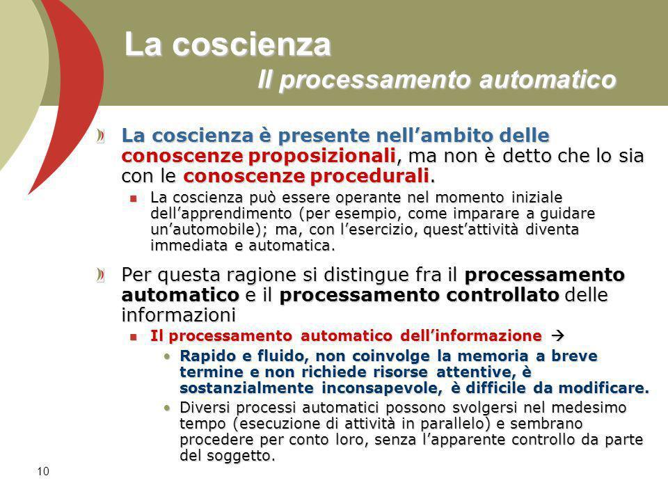 10 La coscienza Il processamento automatico La coscienza è presente nellambito delle conoscenze proposizionali, ma non è detto che lo sia con le conoscenze procedurali.