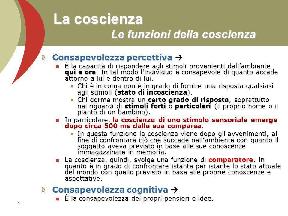 4 La coscienza Le funzioni della coscienza Consapevolezza percettiva Consapevolezza percettiva È la capacità di rispondere agli stimoli provenienti dallambiente qui e ora.