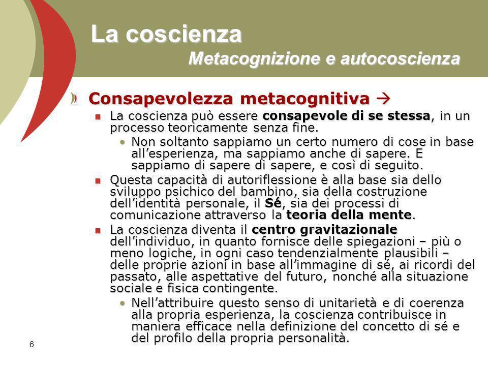 6 La coscienza Metacognizione e autocoscienza Consapevolezza metacognitiva Consapevolezza metacognitiva La coscienza può essere consapevole di se stessa, in un processo teoricamente senza fine.