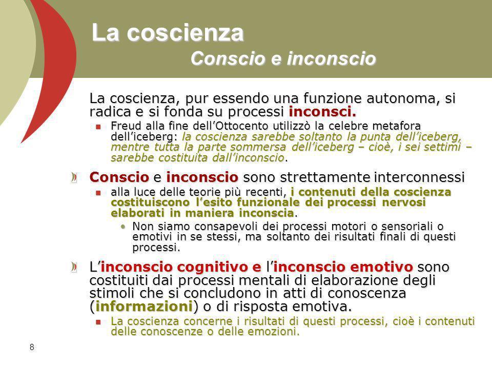 8 La coscienza Conscio e inconscio La coscienza, pur essendo una funzione autonoma, si radica e si fonda su processi inconsci.