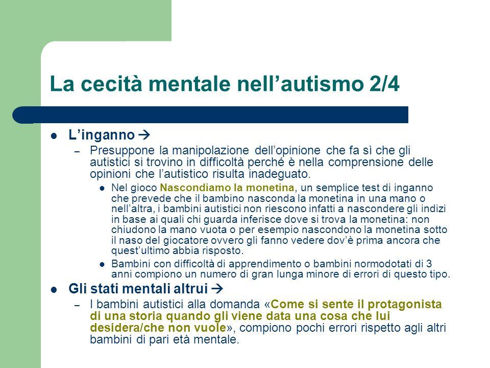 La cecità mentale nellautismo 2/4 Linganno – Presuppone la manipolazione dellopinione che fa sì che gli autistici si trovino in difficoltà perché è ne