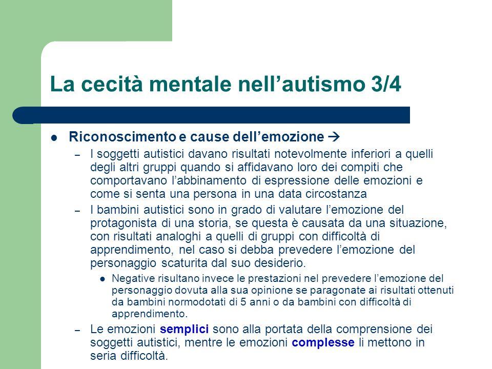 La cecità mentale nellautismo 3/4 Riconoscimento e cause dellemozione – I soggetti autistici davano risultati notevolmente inferiori a quelli degli al