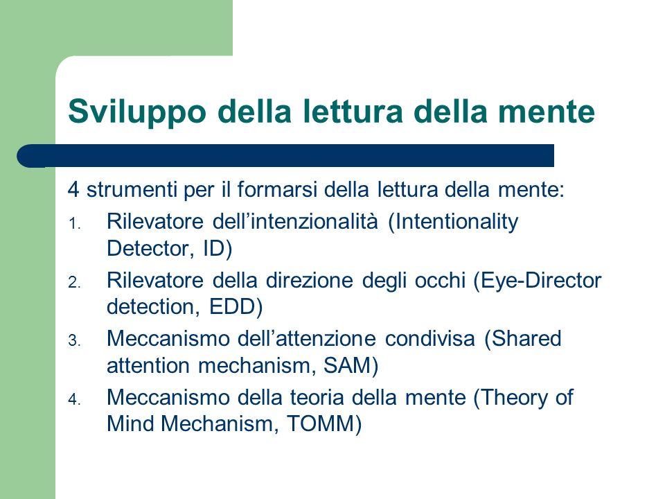 4 strumenti per il formarsi della lettura della mente: 1. Rilevatore dellintenzionalità (Intentionality Detector, ID) 2. Rilevatore della direzione de