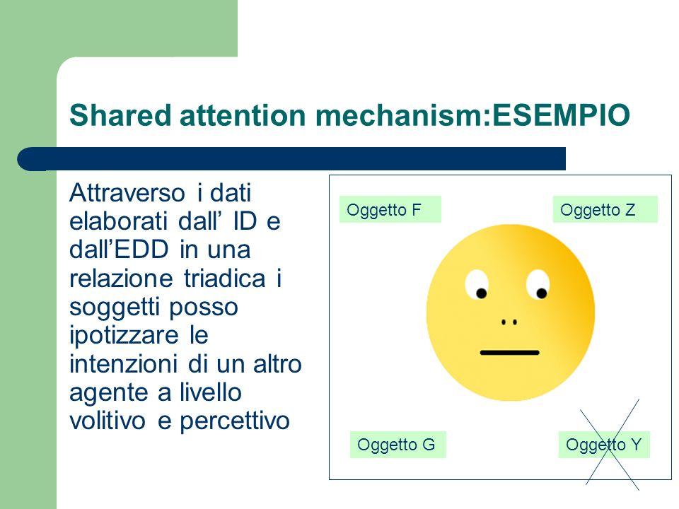Shared attention mechanism:ESEMPIO Attraverso i dati elaborati dall ID e dallEDD in una relazione triadica i soggetti posso ipotizzare le intenzioni d