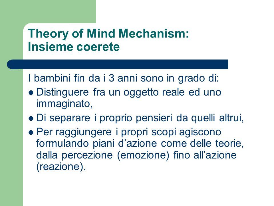 Theory of Mind Mechanism: Insieme coerete I bambini fin da i 3 anni sono in grado di: Distinguere fra un oggetto reale ed uno immaginato, Di separare