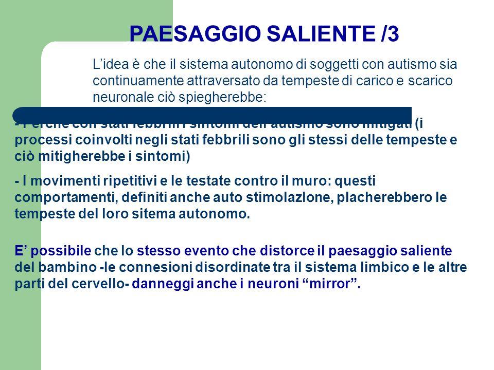 PAESAGGIO SALIENTE /3 - Perché con stati febbrili i sintomi dellautismo sono mitigati (i processi coinvolti negli stati febbrili sono gli stessi delle