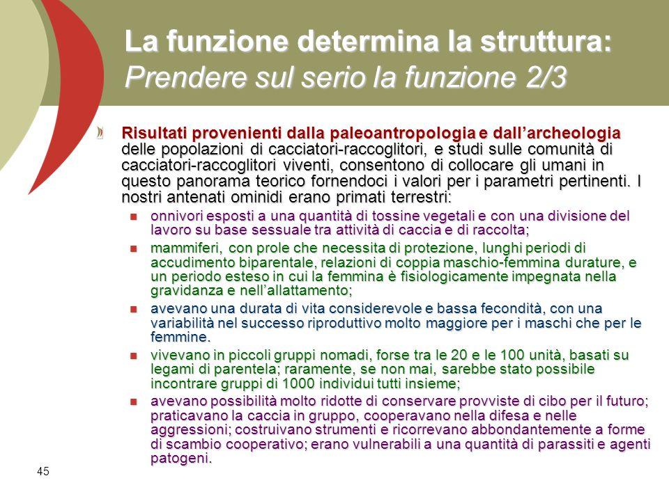 45 La funzione determina la struttura: Prendere sul serio la funzione 2/3 Risultati provenienti dalla paleoantropologia e dallarcheologia delle popola