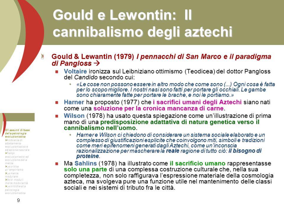 9 Gould e Lewontin: Il cannibalismo degli aztechi Gould & Lewantin (1979) I pennacchi di San Marco e il paradigma di Pangloss Gould & Lewantin (1979)