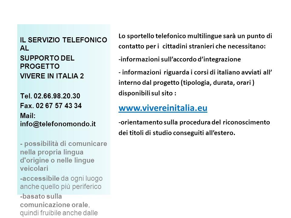 IL SERVIZIO TELEFONICO AL SUPPORTO DEL PROGETTO VIVERE IN ITALIA 2 Tel.