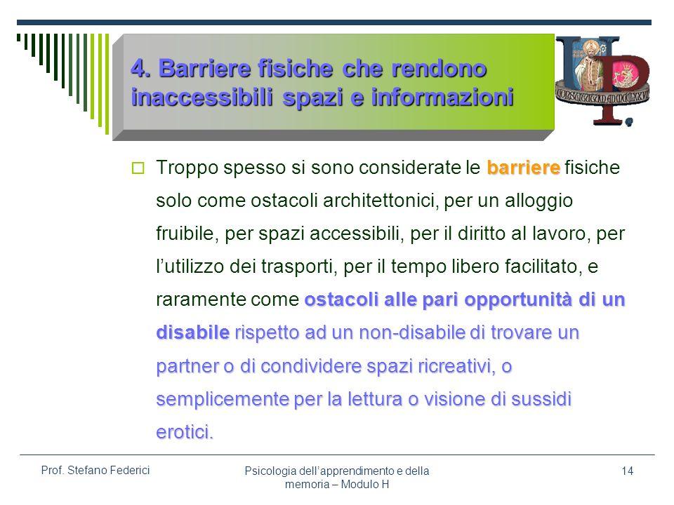 Psicologia dellapprendimento e della memoria – Modulo H 14 Prof. Stefano Federici 4. Barriere fisiche che rendono inaccessibili spazi e informazioni b