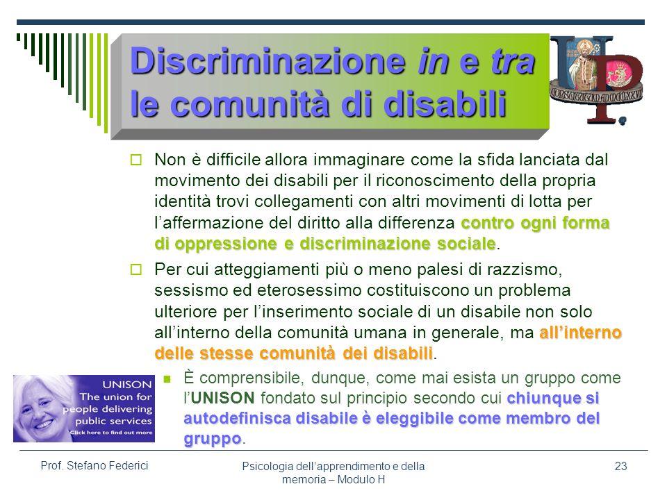 Psicologia dellapprendimento e della memoria – Modulo H 23 Prof. Stefano Federici Discriminazione in e tra le comunità di disabili contro ogni forma d
