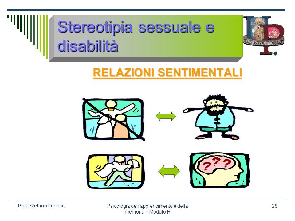 Psicologia dellapprendimento e della memoria – Modulo H 28 Prof. Stefano Federici Stereotipia sessuale e disabilità RELAZIONI SENTIMENTALI