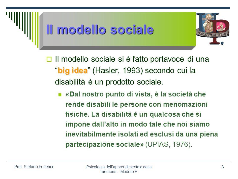 Psicologia dellapprendimento e della memoria – Modulo H 3 Prof. Stefano Federici Il modello sociale big idea Il modello sociale si è fatto portavoce d
