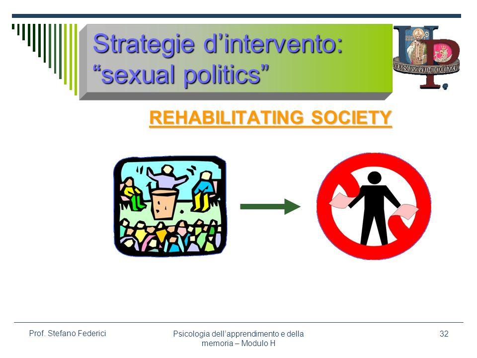 Psicologia dellapprendimento e della memoria – Modulo H 32 Prof. Stefano Federici Strategie dintervento: sexual politics REHABILITATING SOCIETY