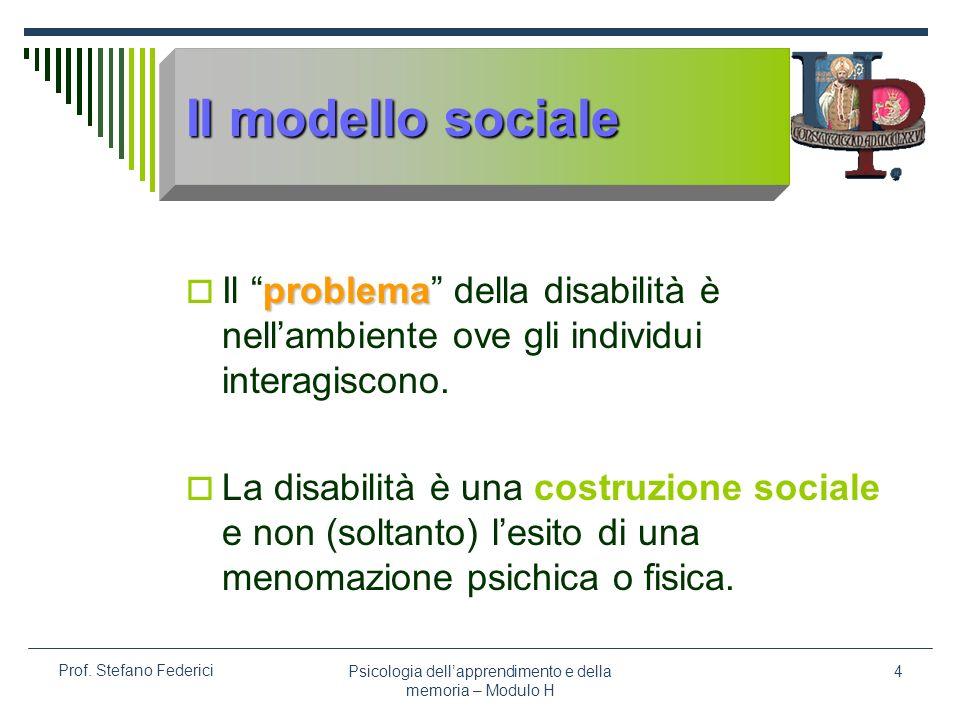 Psicologia dellapprendimento e della memoria – Modulo H 4 Prof. Stefano Federici Il modello sociale problema Il problema della disabilità è nellambien
