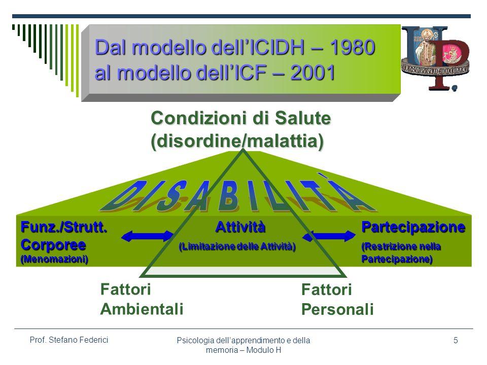 Psicologia dellapprendimento e della memoria – Modulo H 5 Prof. Stefano Federici MenomazioneDisabilitàHandicap Menomazione Disabilità HandicapMalattia
