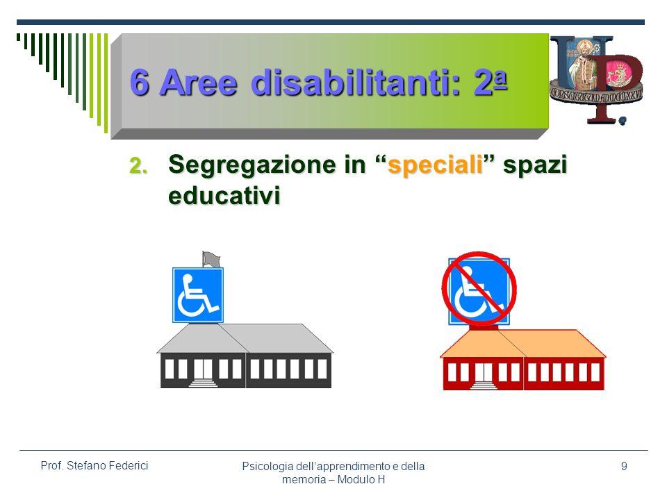 Psicologia dellapprendimento e della memoria – Modulo H 9 Prof. Stefano Federici 6 Aree disabilitanti: 2 a 2. Segregazione in speciali spazi educativi