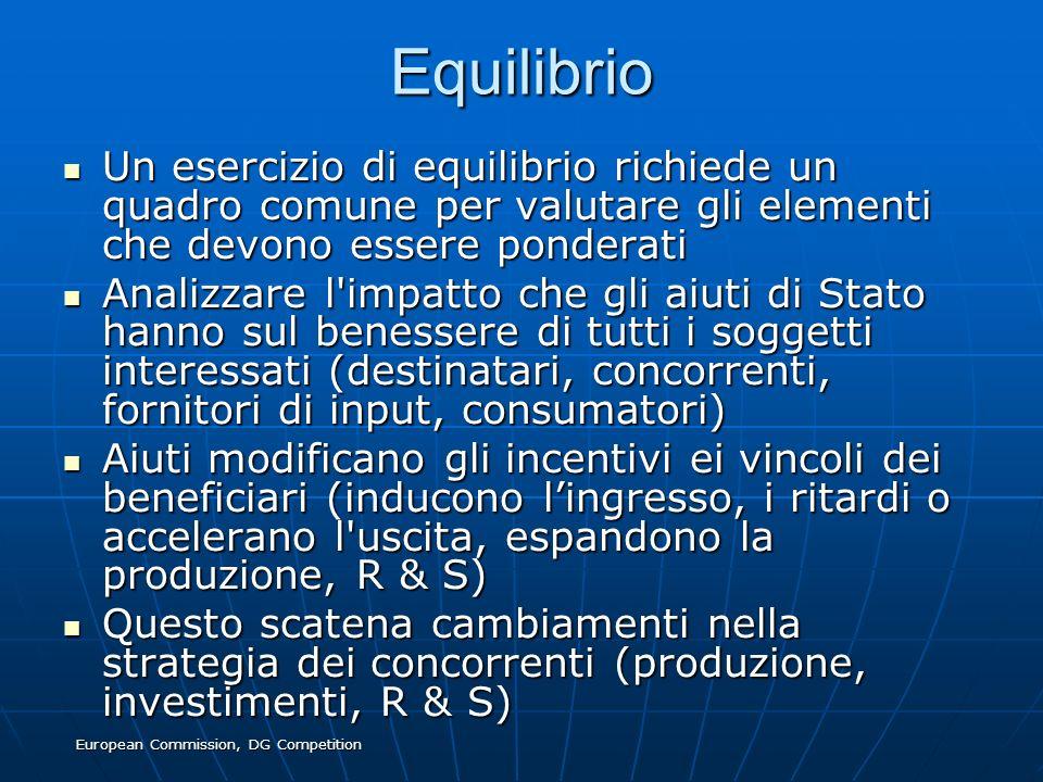 European Commission, DG Competition Equilibrio Un esercizio di equilibrio richiede un quadro comune per valutare gli elementi che devono essere ponder
