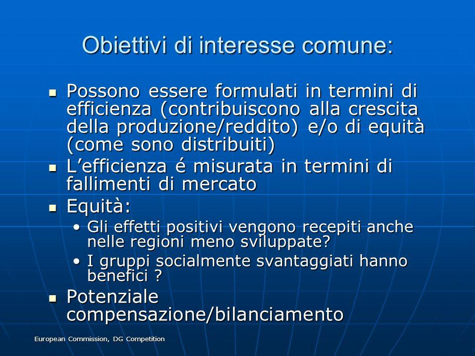 European Commission, DG Competition Obiettivi di interesse comune: Possono essere formulati in termini di efficienza (contribuiscono alla crescita del